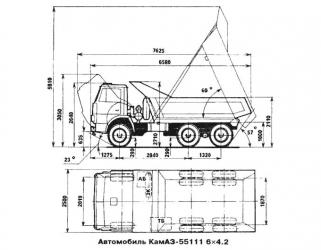 Объем кузова Камаз 55111 самосвал